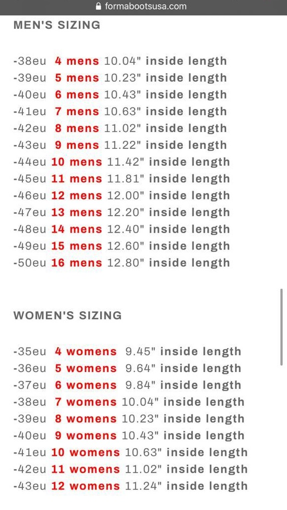 Guía de talla botas Forma